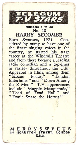 Harry Secombe - Bubble Gum Card (Back)